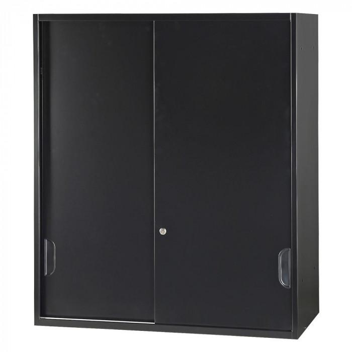 流行 生活 雑貨 壁面収納庫深型引違い(上置) ブラック HOS-HKSUN-B CN-10色(ブラック)