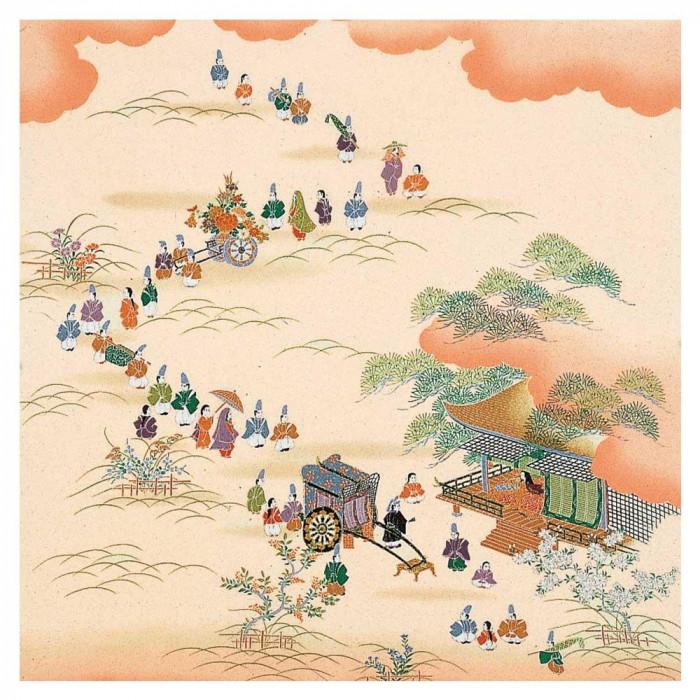 トレンド 雑貨 おしゃれ 正絹さざ波ちりめん友仙ふろしき 二巾・7号 時代祭 21-010104