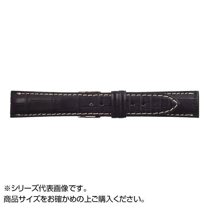 流行 生活 雑貨 時計バンド クロコマット 20cm ブラック/ホワイトステッチ (美錠:銀) WRM-AW20