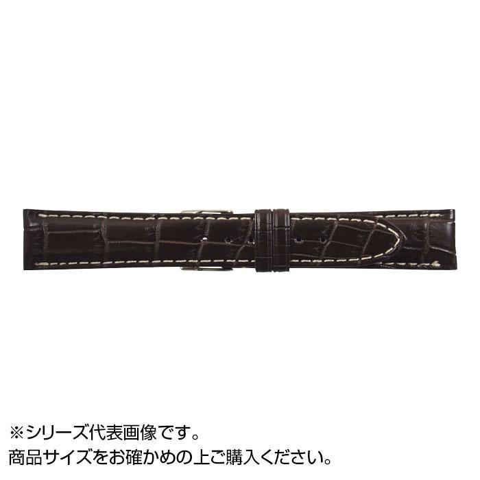 流行 生活 雑貨 時計バンド クロコマット 22cm ブラウン/ホワイトステッチ (美錠:銀) WRM-BW22