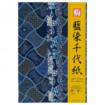 藍染千代紙 4柄 360×255mm U600-5 10 セット人気 お得な送料無料 おすすめ 流行 生活 雑貨