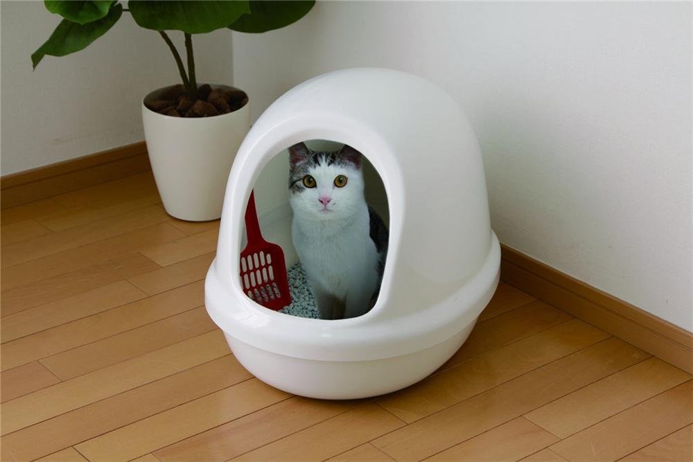 ペットトイレ cat toilet カバー付き ネコのトイレ フルカバー カラー:しろ