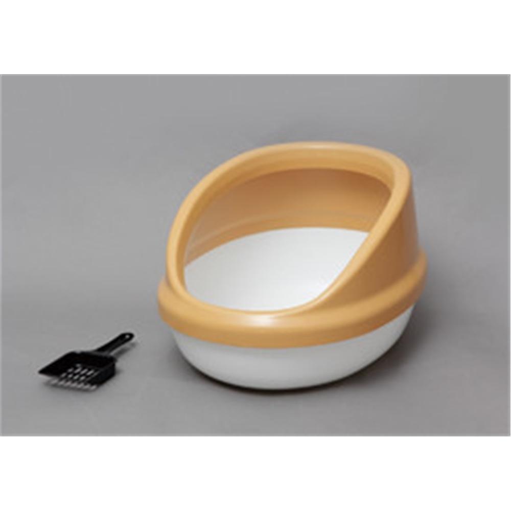 ペットトイレ ネコ用トイレ スコップ付き ネコのトイレ ハーフカバー カラー:三毛