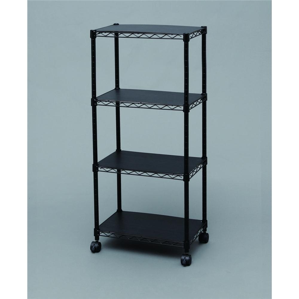 スチール棚 メタルシェルフ 棚板4枚タイプ ウッドボード付きカラーメタルラック ブラック