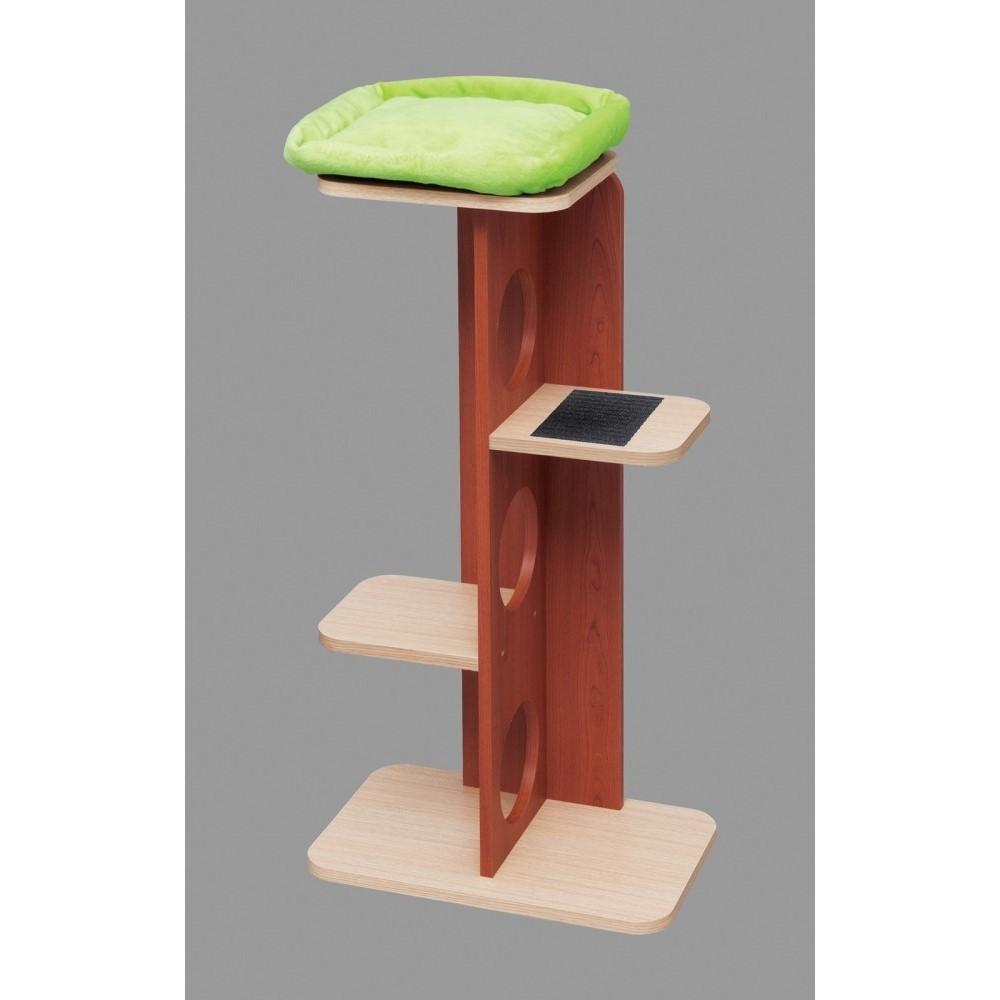 キャットタワー 猫タワー 滑り止めマット付 インテリアキャットランド Mサイズ カラー:赤チェリー/フレンチオーク