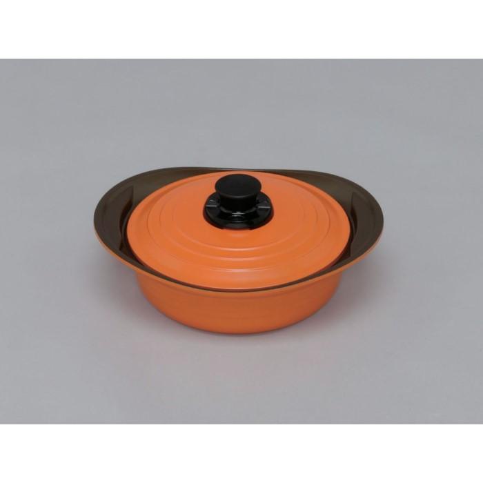 調理 鍋 素材の旨みや栄養素を逃がさず、調理 便利 無加水鍋 24cm浅型 【単品販売】オレンジ