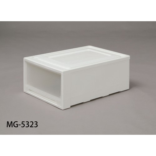 チェスト 家具 軽い力で、開閉 使いやすい ロングチェスト ホワイト/クリア 4点セット