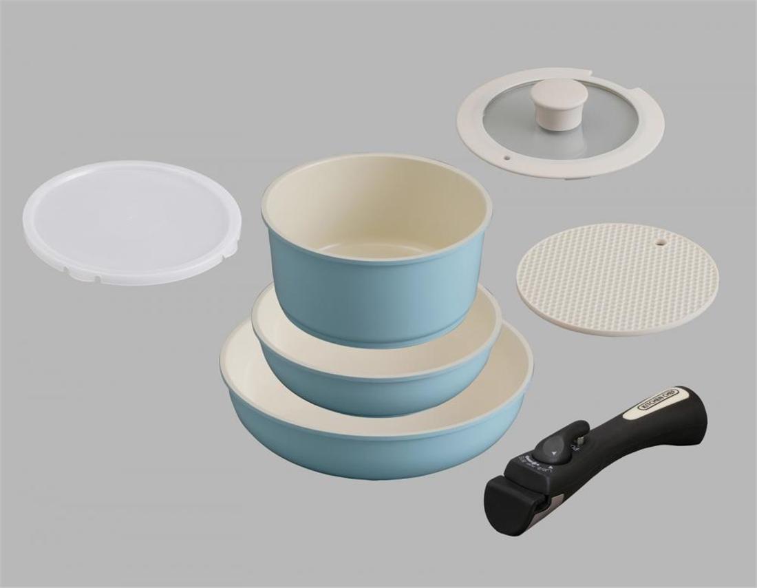 便利 調理器具 キッチン 台所 セラミックカラーパン6点セットシリコンなべ敷き付