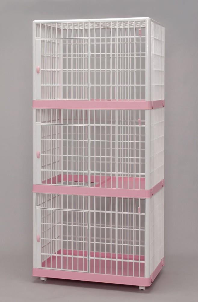 キャット ゲージ プラ ケージ サビずに手入れが簡単プラスチック製!3段 ピンク