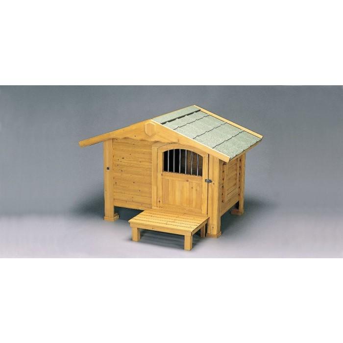 屋外用 犬 小屋 ロッジ風 通気性を考慮し側面両側に窓!ブラウン
