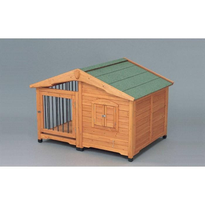 屋外用 犬 小屋 ロッジ風 窓を開けても柵があり窓から出る心配なし!ブラウン