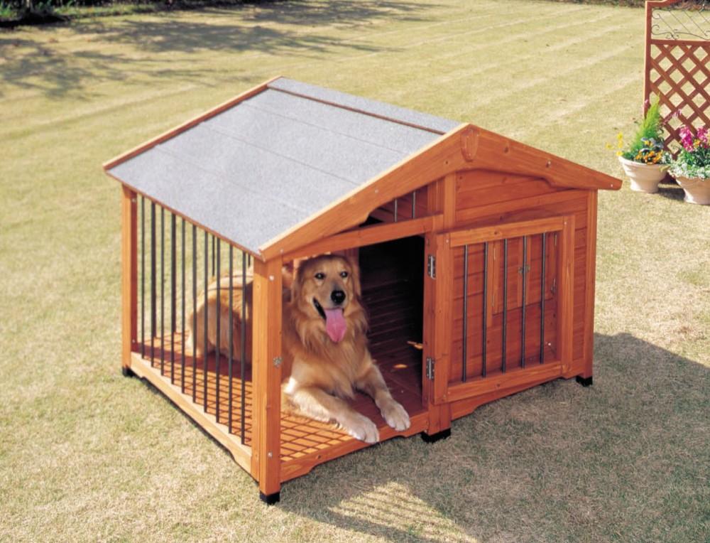 犬小屋 ケージ ペット 扉を開けたまま固定出来るように扉止め金具付き!ブラウン