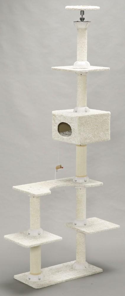 猫タワー おもちゃ 猫用品 爪とぎ じゃれて遊べるねずみのおもちゃ付き!ホワイト