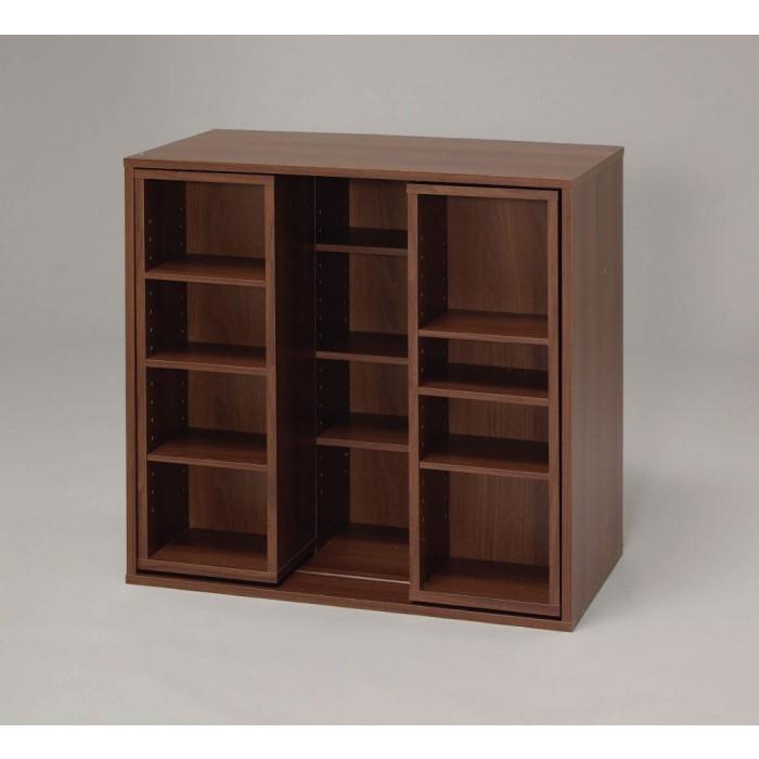 本棚 漫画本等の収納に最適な可動ラックが前面に2箇所付いています!! 本収納 ラック 棚 スライド 書斎 インテリア ウォールナットブラウン
