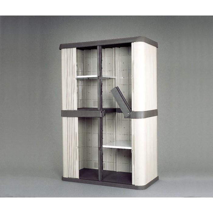 物置 ガーデン用品 高さ調節可能な棚板2枚付き おすすめ ホームロッカーワイド ブラウン