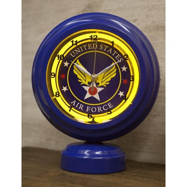レトロ雑貨 とけい 時計 ガレージや、お部屋のアクセントに オシャレ テーブルトップネオンクロック ブルー