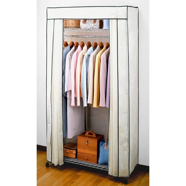 ハンガーラック 簡単設計!!収納 家具 衣類 カバー付き キャスター ハンガー 棚 洋服収納 かばん ブラウン