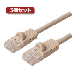 便利雑貨 【5個セット】 カテ5eストレ-トLANケーブル 15m アイボリ- TWN-515IVX5