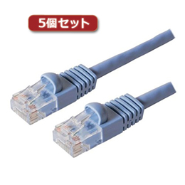 【5個セット】 カテ6ストレ-トLANケーブル 30m ブル- TWN-630BLX5