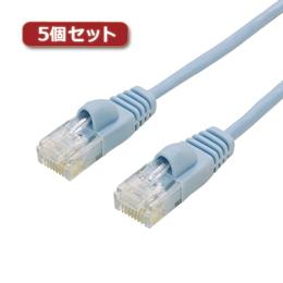 ケーブル 関連商品 【5個セット】 ミヨシ カテ6ストレートLANケーブル スリムタイプ 直径3.5mm ブルー 15m LAN-TS615BLX5