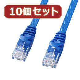 【10個セット】カテゴリ6フラットLANケーブル LA-FL6-05BLX10