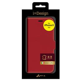 便利雑貨 iPhone X用手帳型 イタリア高級本革ケース RD AC-P8-LBTRD