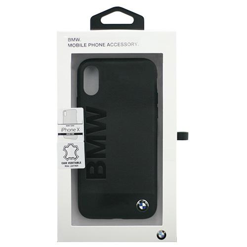生活関連グッズ BMW iPhoneX専用 本革+アルミ素材ハードケース Genuine Leather - PC/TPU Hybrid Case - Sand Blasted Aluminum Plate - Black IPX BMHCPXSGLALBK