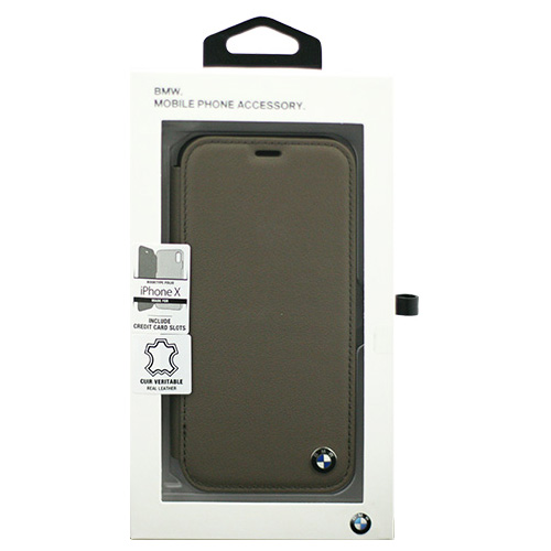 生活関連グッズ BMW iPhoneX専用 本革手帳型ケース Genuine Leather - PC/TPU Hybrid Case - BOOKTYPE - Mocca IPX BMFLBKPXGLSCTA