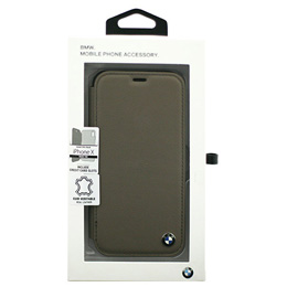 便利雑貨 BMW iPhoneX専用 本革手帳型ケース Genuine Leather - PC/TPU Hybrid Case - BOOKTYPE - Mocca IPX BMFLBKPXGLSCTA