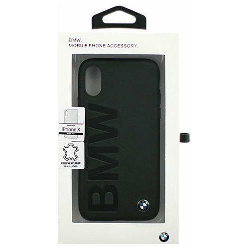 生活関連グッズ BMW iPhoneX専用 本革ハードケース PC Hard Case - Logo Imprint - Genuine Leather -Without line same first collection- Black IPX BMHCPXLOB