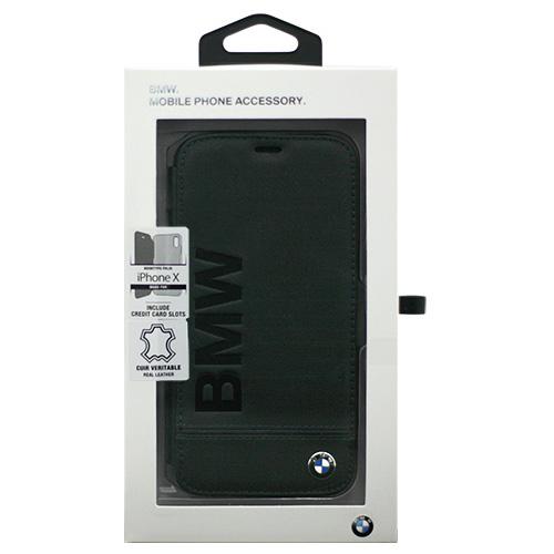 生活関連グッズ BMW iPhoneX専用 本革手帳型ケース PC Booktype Case - Logo Imprint - Genuine Leather - Black IPX BMFLBKPXLLSB
