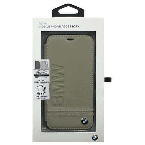 生活関連グッズ BMW iPhoneX専用 本革手帳型ケース PC Booktype Case - Logo Imprint - Genuine Leather - Taupe IPX BMFLBKPXLLST