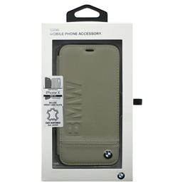 便利雑貨 BMW iPhoneX専用 本革手帳型ケース PC Booktype Case - Logo Imprint - Genuine Leather - Taupe IPX BMFLBKPXLLST