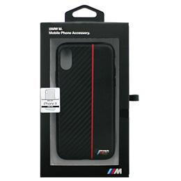 便利雑貨 BMW iPhoneX専用 PUレザーハードケース PC/TPU Hybrid Case - Bi-Material Carbon PU - Red IPX BMHCPXCAPRBK