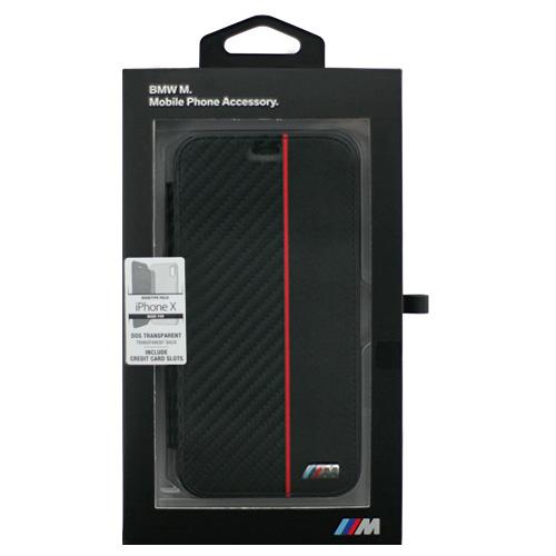 生活関連グッズ BMW iPhoneX専用 PUレザー手帳型ケース PU Booktype -Transparent Case - Bi-Material Carbon PU - Red IPX BMBKTRPXCAPRBK