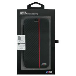 便利雑貨 BMW iPhoneX専用 PUレザー手帳型ケース PU Booktype -Transparent Case - Bi-Material Carbon PU - Red IPX BMBKTRPXCAPRBK