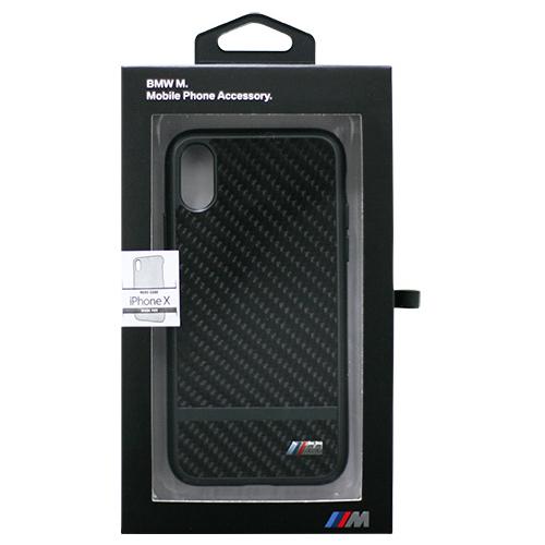生活関連グッズ BMW 公式ライセンス品 iPhoneX専用 リアルカーボンハードケース PC/TPU Hybrid Case - Real Carbon Fiber - Matte Stripe - Gun Metal IPX BMHCPXASCFBK