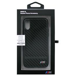 便利雑貨 BMW 公式ライセンス品 iPhoneX専用 リアルカーボンハードケース PC/TPU Hybrid Case - Real Carbon Fiber - Matte Stripe - Gun Metal IPX BMHCPXASCFBK
