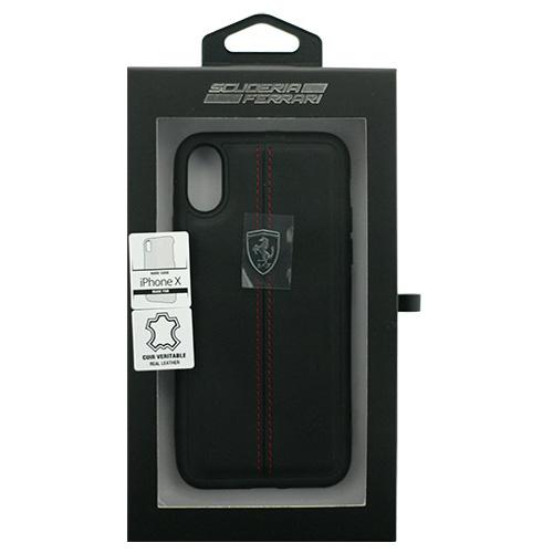 生活関連グッズ Ferrari iPhoneX専用 本革ハードケース HERITAGE - Hard Case W vertical contrasted stripe - Black IPHONE X FEHDEHCPXBK