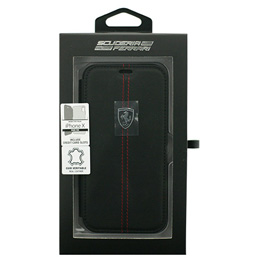 便利雑貨 Ferrari iPhoneX専用 本革+TPU手帳型ケース HERITAGE - Booktype Case W vertical contrasted stripe - Black IPHONE X FEHDEFLBKPXBK