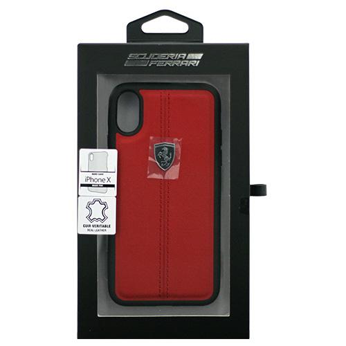 Ferrari iPhoneX専用 本革ハードケース HERITAGE - Hard Case W vertical conrasted stripe - Red IPHONE X FEHDEHCPXREお得 な全国一律 送料無料 日用品 便利 ユニーク