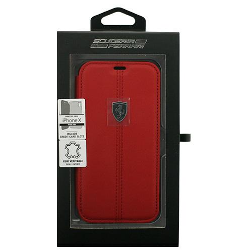 生活関連グッズ Ferrari iPhoneX専用 本革+TPU手帳型ケース HERITAGE - Booktype Case W vertical conrasted stripe - Red IPHONE X FEHDEFLBKPXRE
