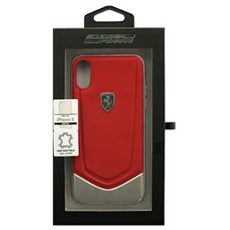 便利雑貨 Ferrari 公式ライセンス品 iPhoneX専用 本革+アルミハードケース HERITAGE - Hard Case with aluminium V stripe - Red IPHONE X FEHTOHCPXRE
