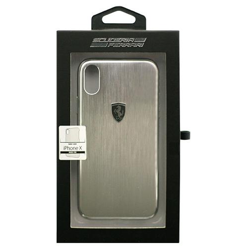 生活関連グッズ Ferrari 公式ライセンス品 iPhoneX専用 アルミハードケース HERITAGE Collection- Aluminium Hard Case - Silver IPHONE X FEHALHCPXSI