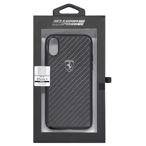 生活関連グッズ Ferrari 公式ライセンス品 iPhoneX専用 リアルカーボンハードケース HERITAGE Collection- Real Carbon Hard Case - Black IPHONE X FEHCAHCPXBK