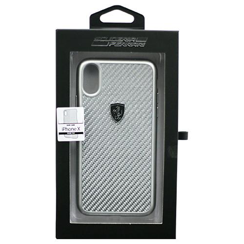 日用品 便利 ユニーク Ferrari 公式ライセンス品 iPhoneX専用 ガラスファイバーハードケース HERITAGE Collection- Real Carbon Hard Case - Silver IPHONE X FEHCAHCPXSI