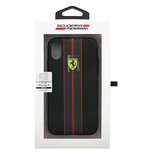 生活関連グッズ Ferrari iPhoneX専用 PUレザーハードケース ON TRACK - PU leather Hard case - ON TRACK LOGO- Black IPHONE X FESURHCPXBKR