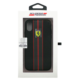 便利雑貨 Ferrari iPhoneX専用 PUレザーハードケース ON TRACK - PU leather Hard case - ON TRACK LOGO- Black IPHONE X FESURHCPXBKR