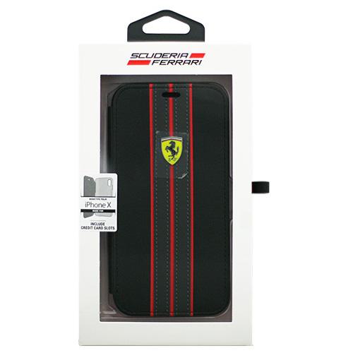 生活関連グッズ Ferrari iPhoneX専用 PUレザー手帳型ケース ON TRACK - PU leather Booktype case - ON TRACK LOGO- Black IPHONE X FESURFLBKPXBKR