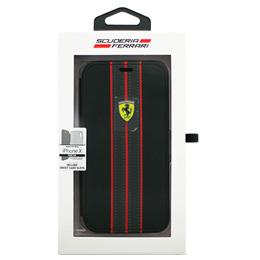便利雑貨 Ferrari iPhoneX専用 PUレザー手帳型ケース ON TRACK - PU leather Booktype case - ON TRACK LOGO- Black IPHONE X FESURFLBKPXBKR